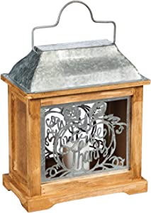 """Evergreen Garden Autumn Rustic Chic Give Thanks Galvanized Metal and Wood Lantern - 10"""" Long x 5"""" Wide x 11"""" High"""