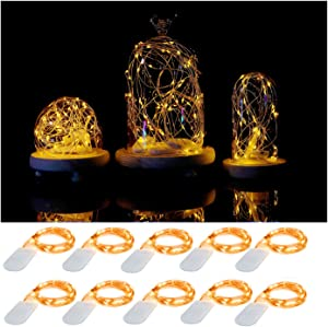 10 Pack Led Fairy String Lights 20 Pre-Installed+10 Replacement Batteries Included, 7.2ft/2.2m 20 Moon Starry LED on Silver Coated Copper Wire - 2 x CR2032 Battery Operated Lights (Yellow)