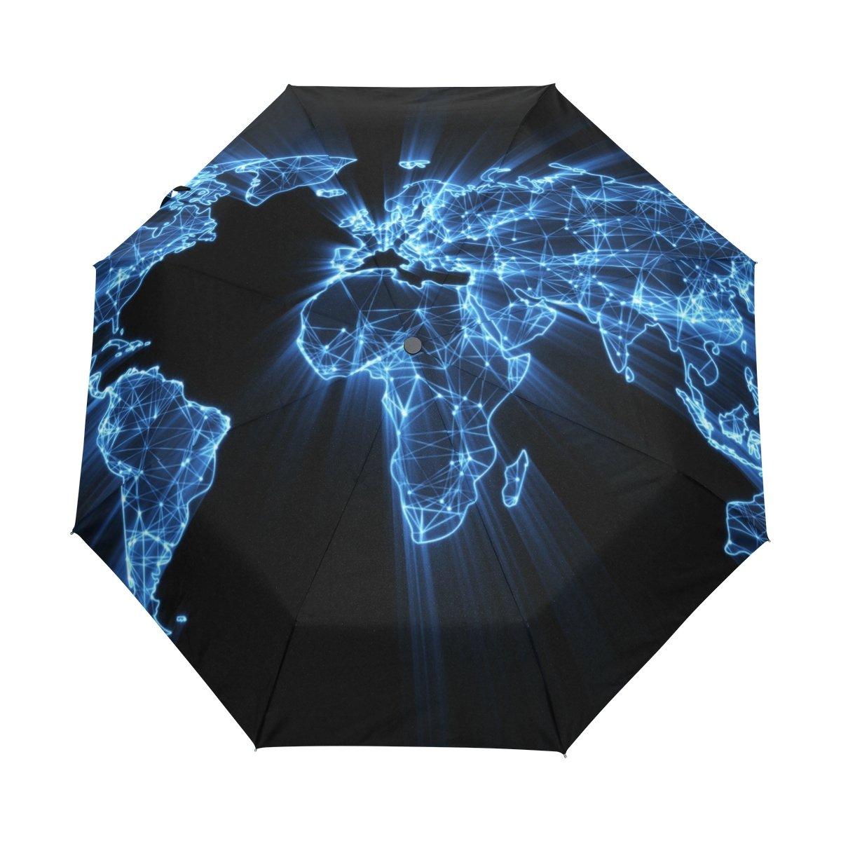 formrs自動傘、ワールドマップGlowingブルー傘コンパクト軽量防水、防風Sun雨の旅行   B07FTGL4RQ