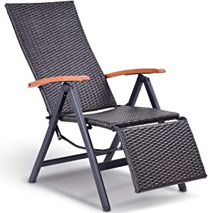 "Ploywipada Rattan Lounge Chair which a Great Addition to Your Outdoor Living Space. Garden Folding Rattan Aluminum Recliner Chair Perfect for Patio, Beach, Pool Using 23.2"" L x 59.0"" W x 45.0"" H"