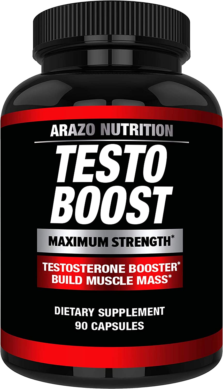 TESTOBOOST Test Booster Supplement - Potent & Natural Herbal Pills - Boost Muscle Growth - Tribulus, Horny Goat Weed, Hawthorn, Zinc, Minerals - Arazo Nutrition USA