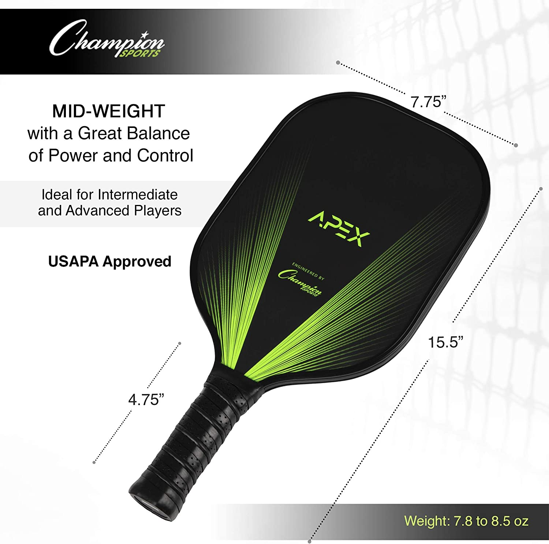 Graphite Aluminum Fiberglass Available in Multiple Designs Champion Sports Pickleball Paddles: Indoor or Outdoor Pickle Ball Paddles in Wood