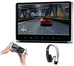 XTRONS Silver 1PC 11.6 Inch HD Digital Touch Panel Car Auto Headrest Active DVD Player Kid Games Built-in HDMI Port 1PC New Version White Headphone Included