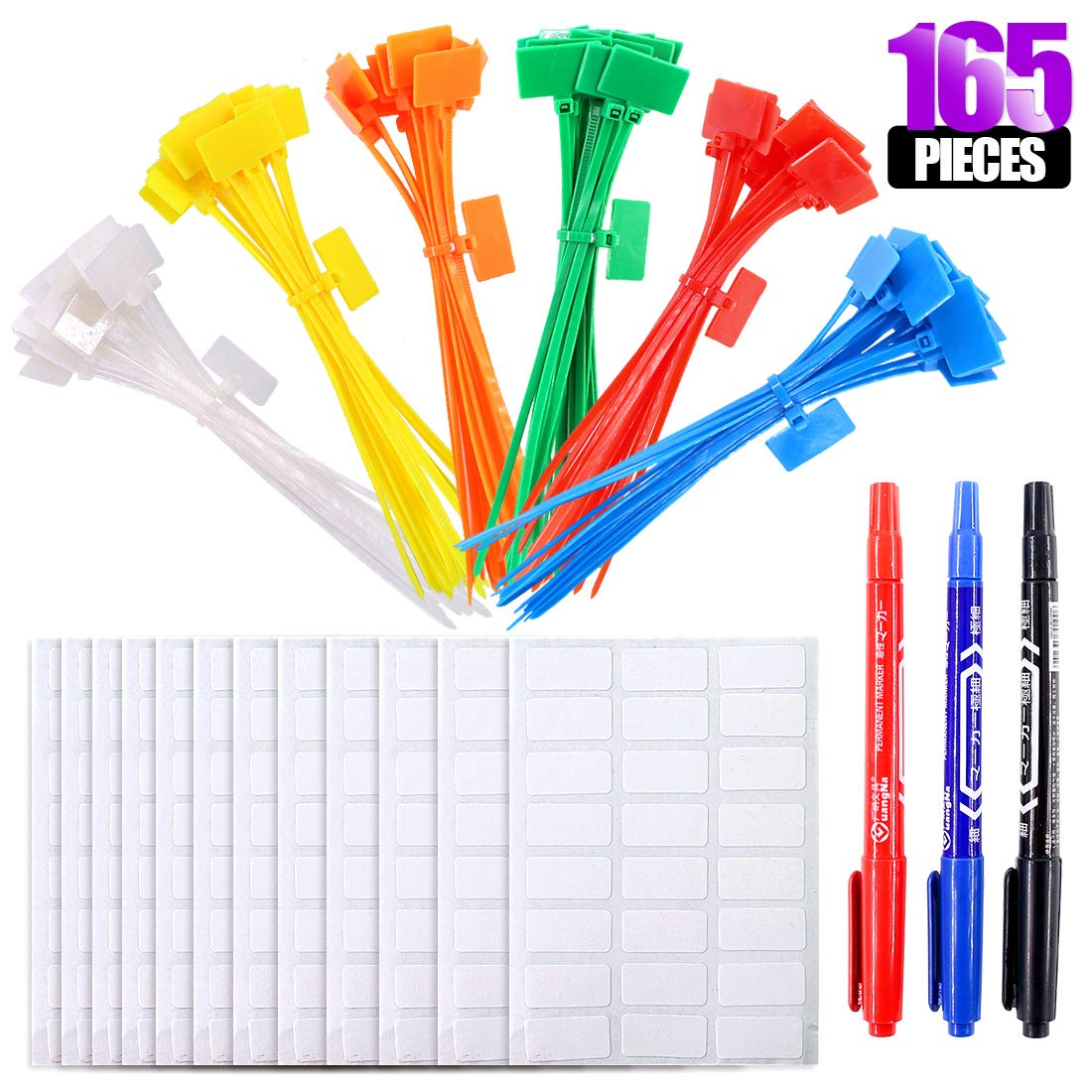 Swpeet 165Pcs Nylon Cable Ties Kit, Including 150Pcs 6 Colors 15cm Reusable Fastening Durable Nylon Cable Ties with 3Pcs Markers and 12Pcs Label Paper for Network Cables Powe