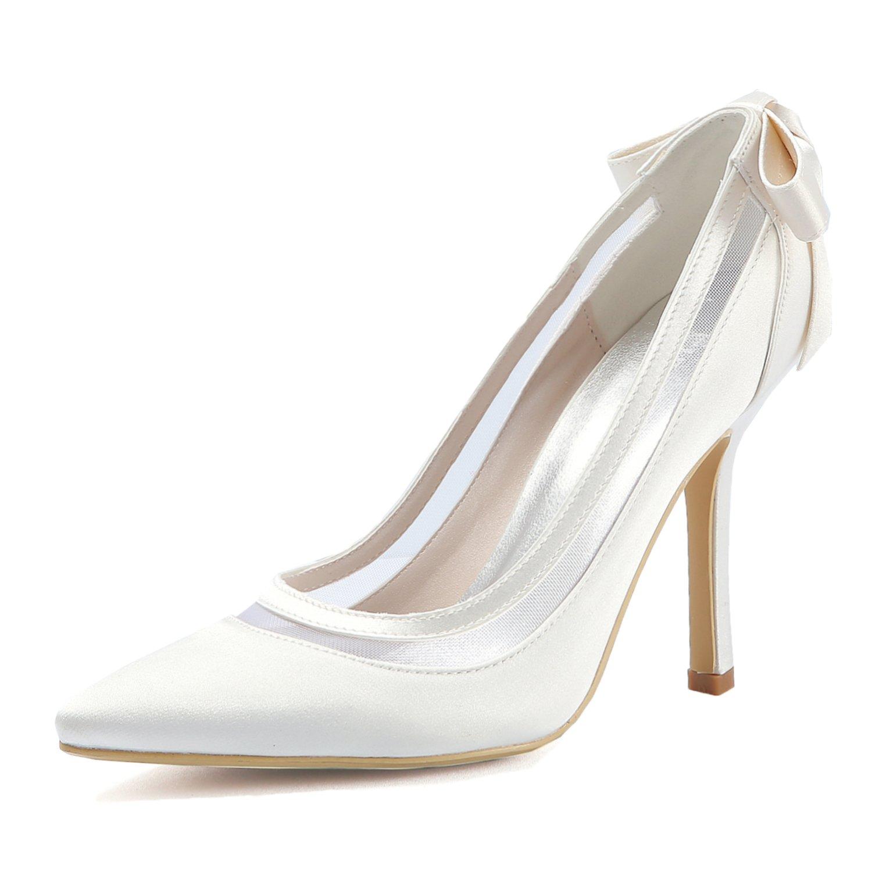 ElegantPark HC1806 Women High Heel Pumps Pointed Toe Bowknots Satin Bridal Wedding Shoes Ivory US 6.5