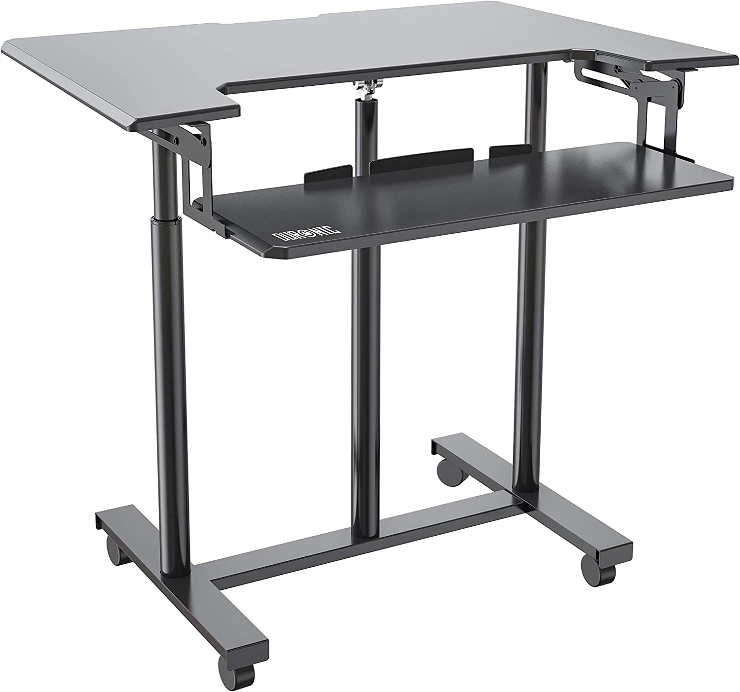 Duronic Sit-Stand Trolley Desk DM03ST1 | Standing Portable PC Workstation | Computer Monitor and Laptop Platform with Keyboard Tray | Height Adjustable | Compatible Monitor Arms