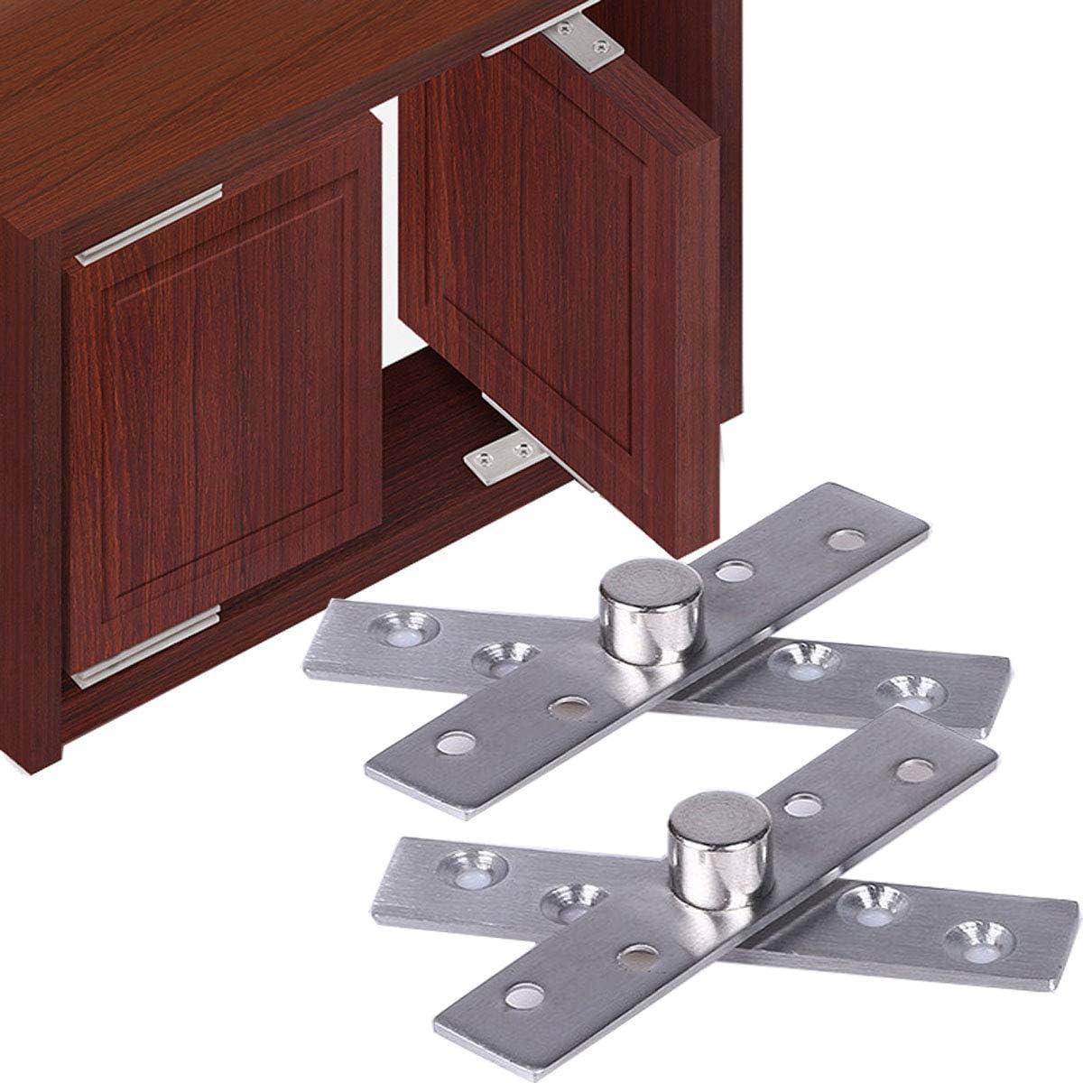 Acero inoxidable superior e inferior puerta de madera con bisagras puerta pivote bisagra 100mm x 25mm360 grados eje giratorio (2 juegos)