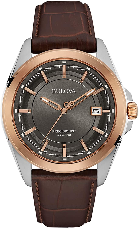 Bulova Precisionist - Reloj de Pulsera de Diseño para Hombre - Correa de Cuero/Acero Inoxidable