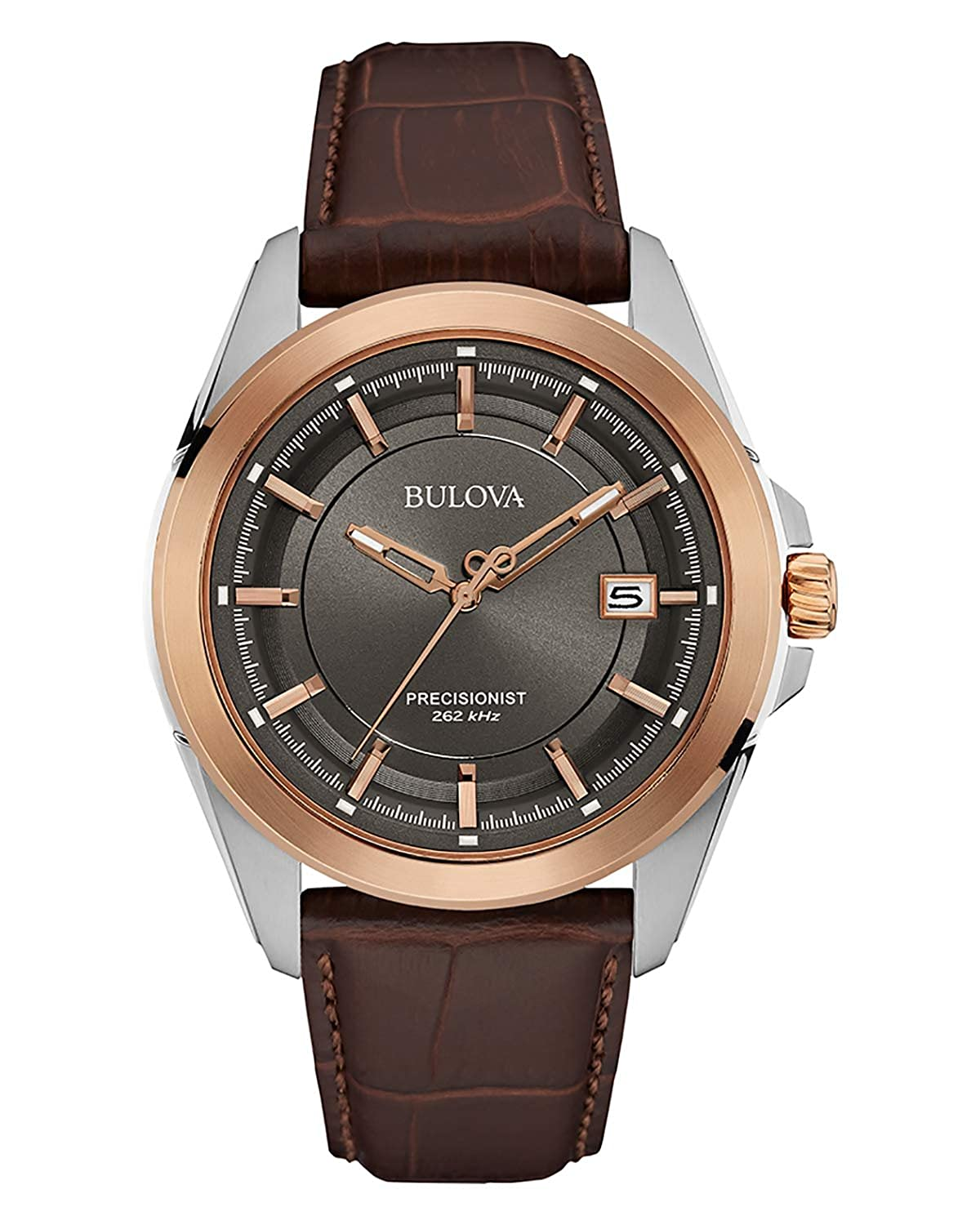 8ae7bd72344 Amazon.com  Bulova Men s 98B267 Stainless Steel Dress Watch With Brown  Leather Band  Bulova  Watches