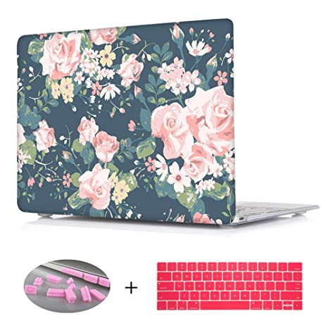 timeless design 1460f a1edc Macbook Air 13.3 Case,Floral Laptop Sleeve Clear Hard Shell Case for  Macbook Air 13 [Model:A1369,A1466] - - Blue
