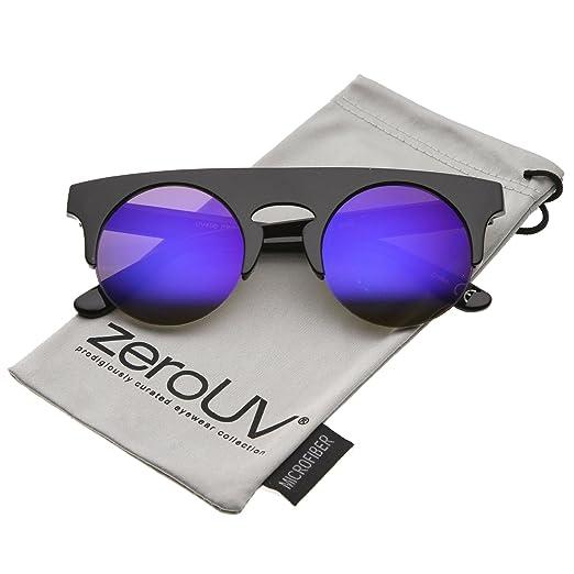d8ab63ff5a zeroUV - Modern Flat Top Horn Rimmed Round Flat Lens Semi Rimless  Sunglasses 48mm (Black
