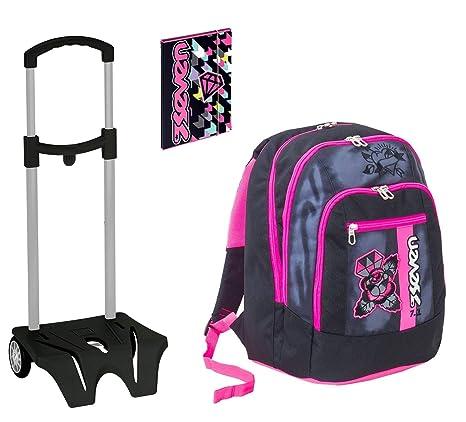 e8e6f2cd27 Seven Zaino Scuola Advanced Color Girl Nero + Easy Trolley + Cartellina A4