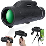Monocular 80x100 Telescope for Smartphone with Phone Adapter,High Power HD Monocular for Bird Watching,Hunting,Traveling,Conc