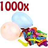 Belmalia 1000x Wasser-Bomben Mega-Pack Bunte Neon Wasserballons Rot Gelb Lila Blau Orange Pink Grün