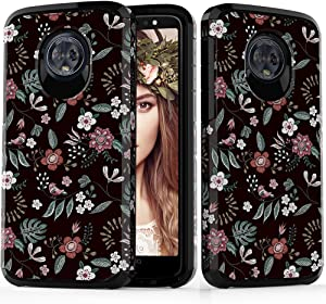 ShinyMax Moto G6 Case,Moto G6 Phone Case, Hybrid Dual Layer Armor Protective Cover Anti-Scratch Shockproof Case with Flowers Design Compatible with Motorola G6 2018 for Girls and Women (Floral)