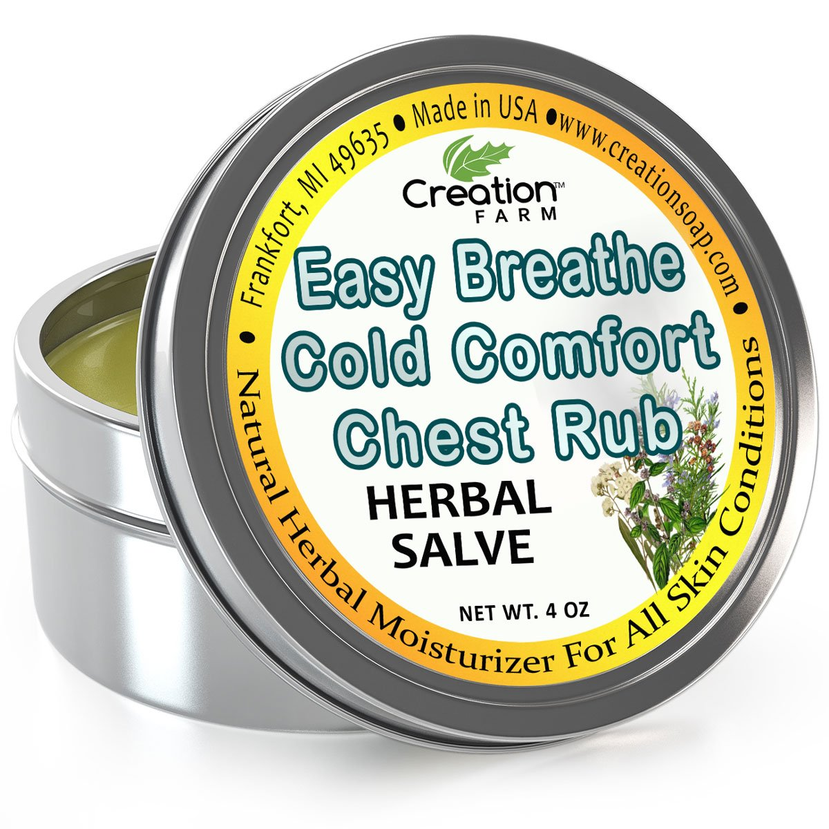 Cold Comfort Easy Breathe Chest Rub Large 4 Oz Tin - All Natural Botanical Ingredients from Creation Farm