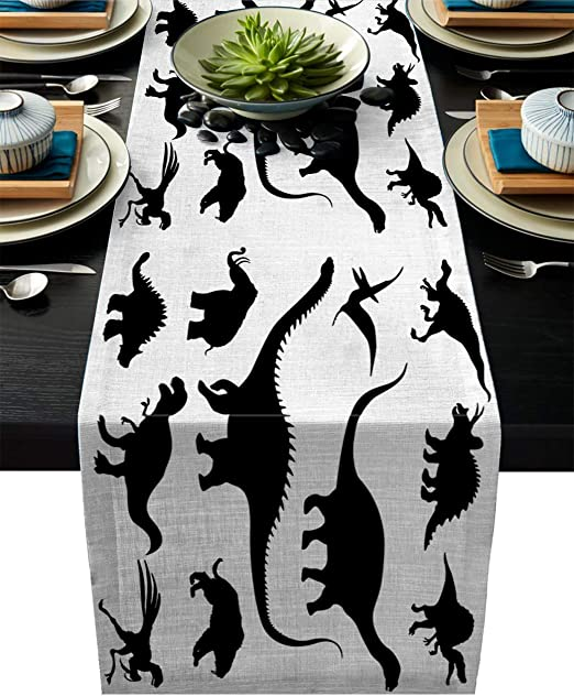 Amazon Com Cloud Dream Home Cotton Linen Table Runner Dinosaur Silhouette Cartoon Table Setting Decor Black White For Garden Wedding Parties Dinner Decoration 14 X 72 Inches Home Kitchen,Rudolph The Red Nosed Reindeer The Movie Vhs