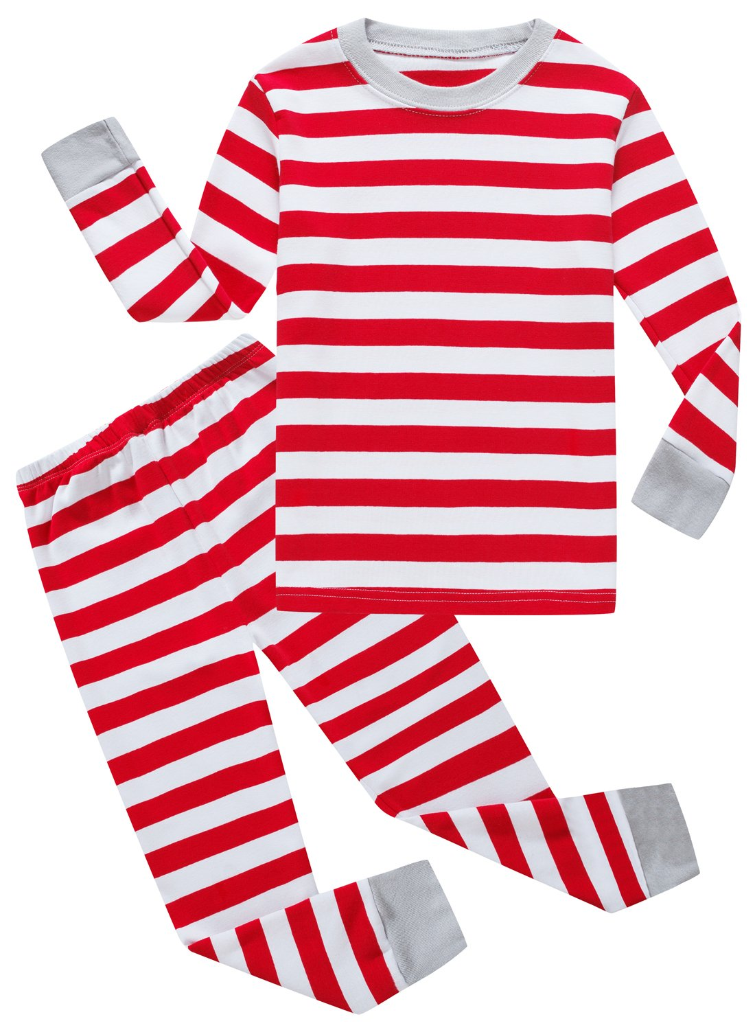 Family Feeling Striped Little Boys Girls Christmas 2 Piece Pajamas Set 100% Cotton Pjs Red Size 5