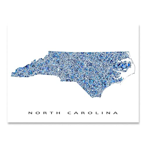 picture relating to Printable Map of North Carolina named : North Carolina Map Print, NC Country Wall Artwork