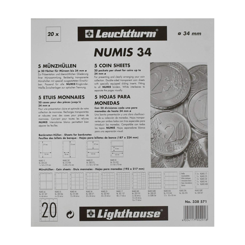 hojas para monedas NUMIS, de 12 divisiones de 44 mm Ø: Amazon.es: Juguetes y juegos