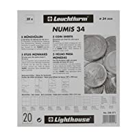 Leuchtturm 338571 Coin Sheets Numis, 20 Pockets Up To 34 Mm Ø