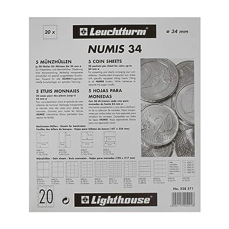 f54228f8d9 Leuchtturm 338571 Coin Sheets Numis, 20 Pockets Up To 34 Mm Ø ...