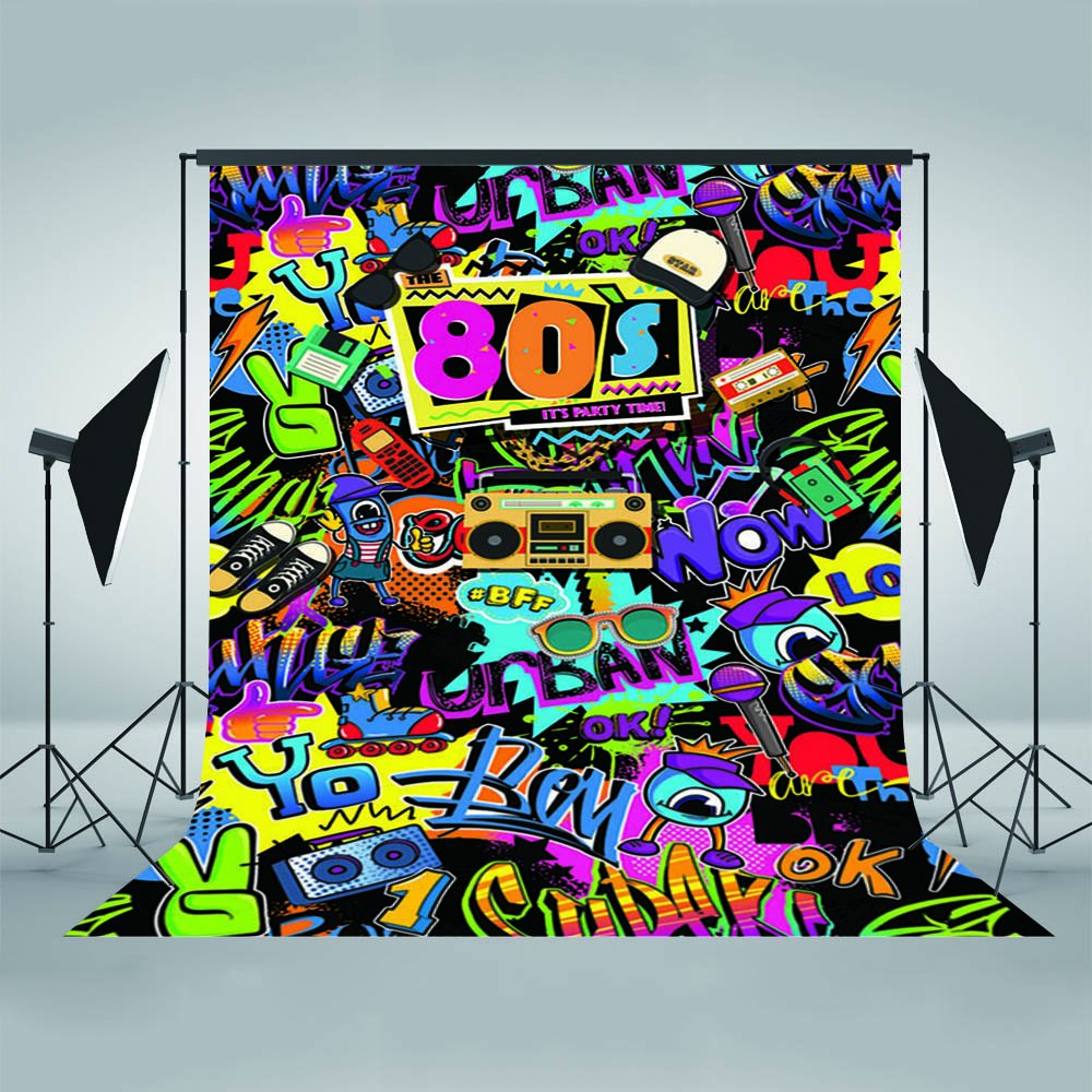 Mehofoto Hip Pop 80's Themed Backdrop 80s Graffiti Photography Background 5x7ft Vinyl 80th Themed Party Decoration Personalized Portrait Backdrops by Mehofoto
