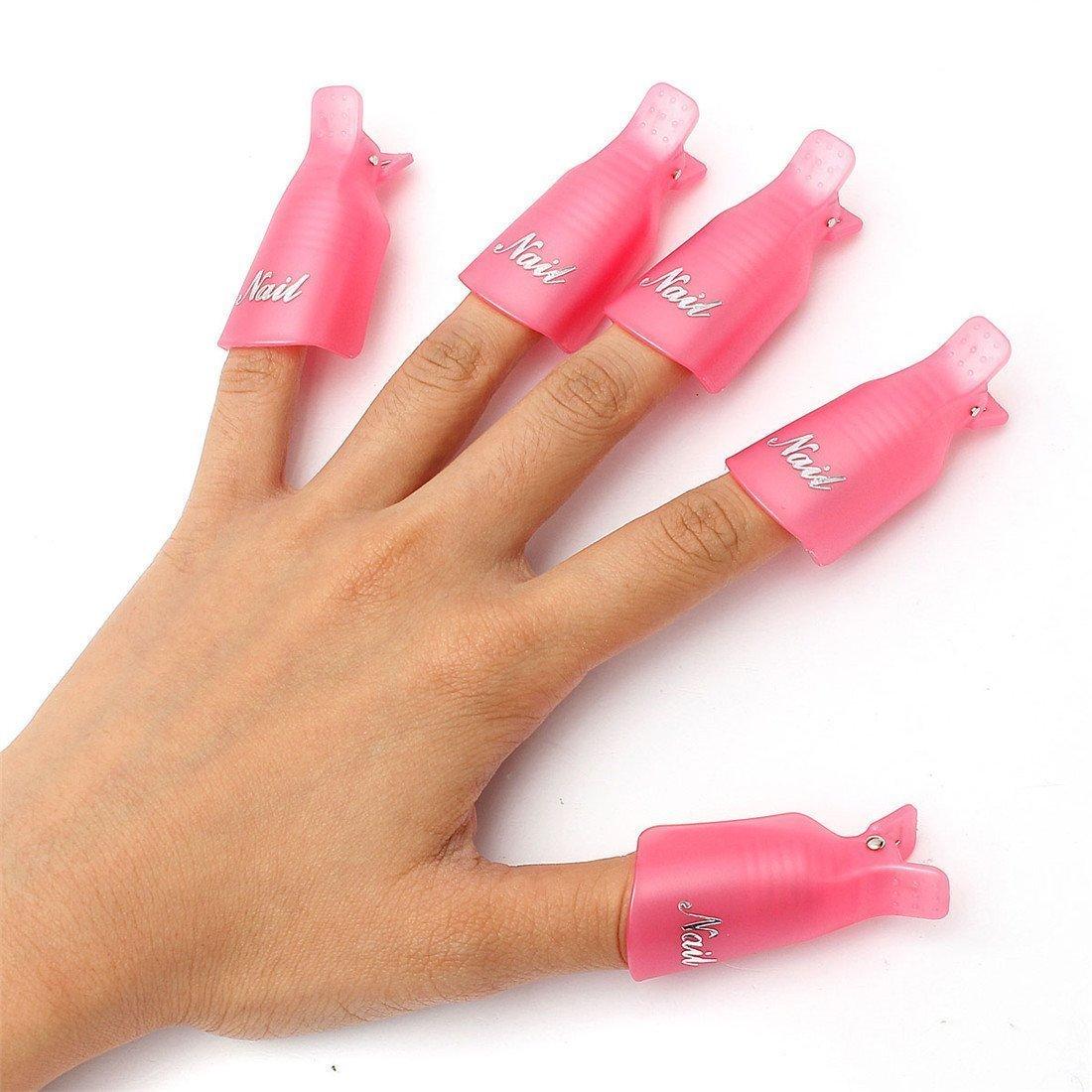 10PC Plastic Acrylic Nail Art Soak Off Cap Clip UV Gel Polish Remover Wrap Tool Rose Red