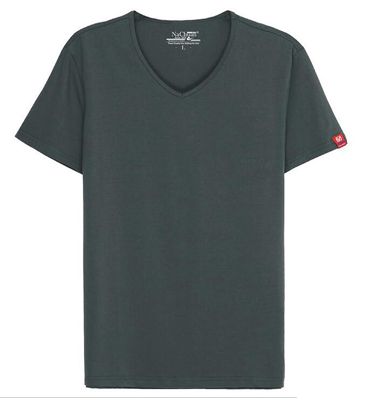 Elonglin Homme T-Shirt à Manches Courtes Col-V T-Shirt de Loisir en Coton Décontracté Sports Shirt Basic Slim Fit EL.TX0364