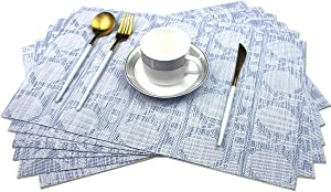Bright Dream Placemats Washable Easy to Clean Table Mats for Kitchen Table Heat-resistand Woven Vinyl PVC Placemat 12x18 inches Set of 6(Navy+White)