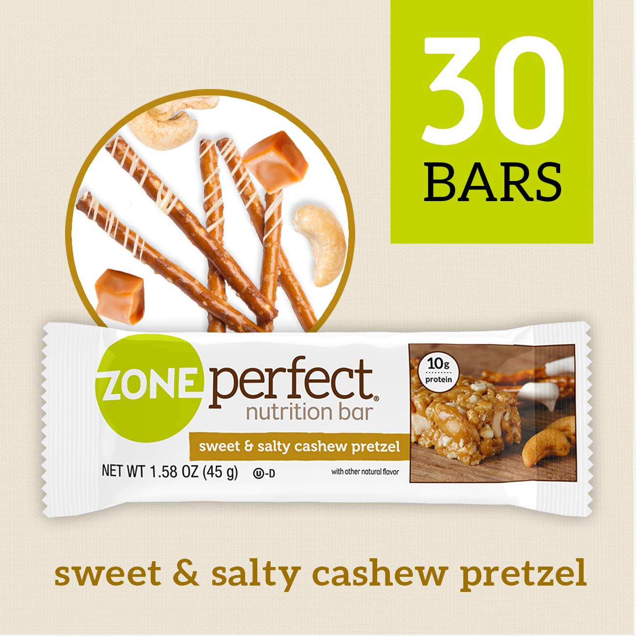 ZonePerfect Nutrition Snack Bars, Sweet & Salty Cashew Pretzel, 10g high-quality protein, 1.58 oz, 30 count