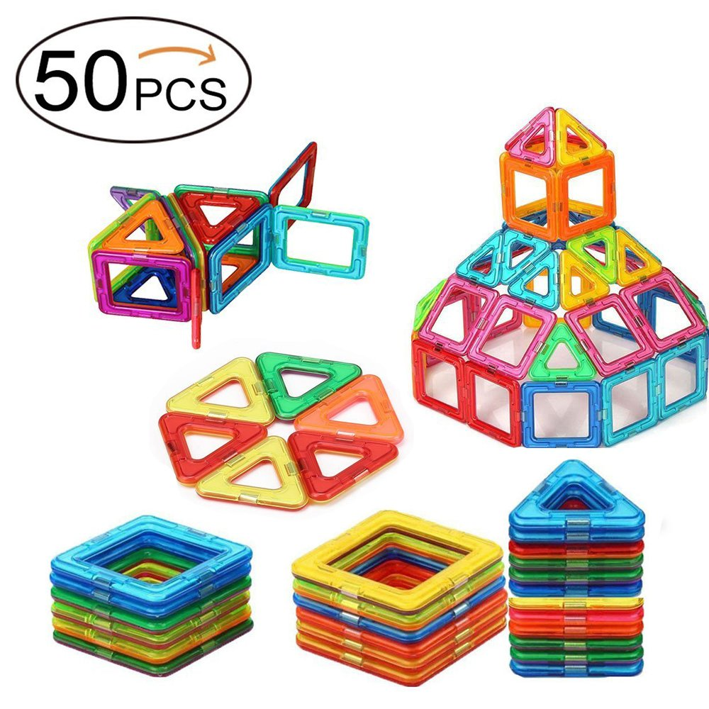 Twinsisi Magnetic Blocks, Magnetic Building Blocks, Magnetic Tiles,Travel Set for Toddlers, Educational Stacking Toys for Kids Over 3 Years Old (50pcs)