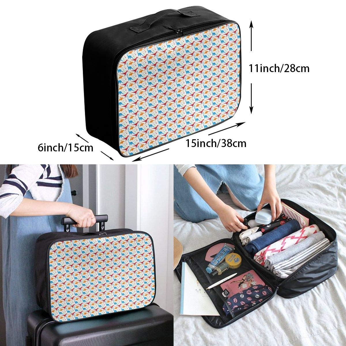JTRVW Luggage Bags for Travel Dinosaur Colorful Life Travel Duffel Bag Waterproof Fashion Lightweight Large Capacity Portable Duffel Bag for Men /& Women