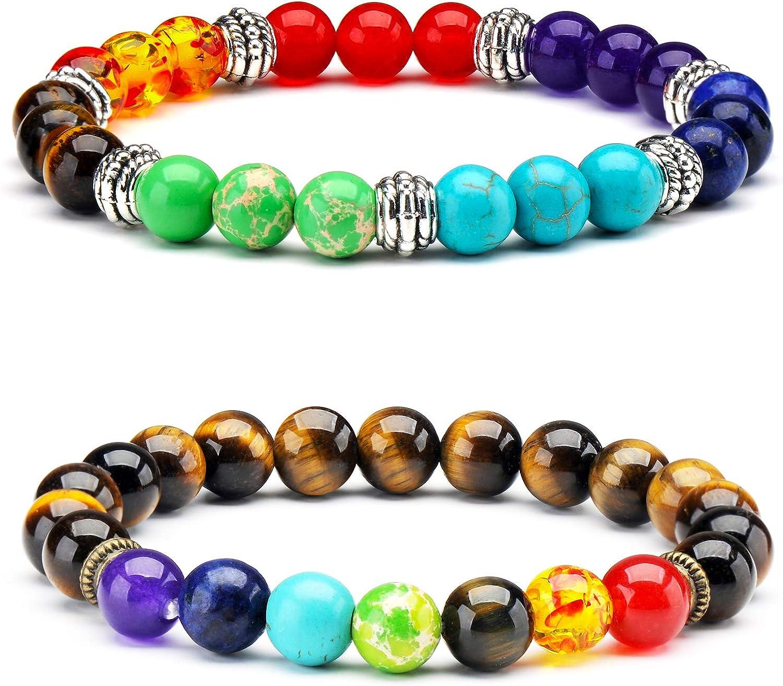 Senlinmu 2 x 7 Chakras Yoga Pulsera Meditación Curación Equilibrio Ojo de Tigre Cuentas de Piedra Pulseras elásticas Set de Regalo