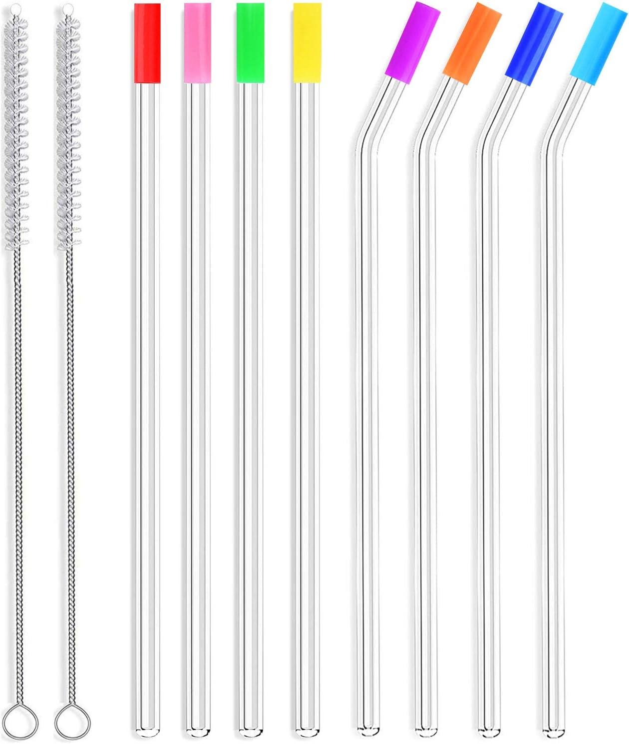 ALINK Skinny Clear Glass Straws, 10.5