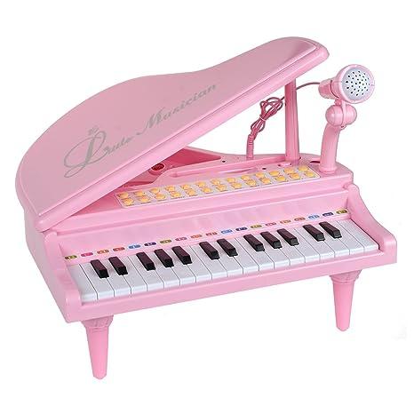 Baellar Piano Teclado de Juguete 31 Llaves Rosa Electrónica Musical Instrumentos Multifuncionales con Micrófono