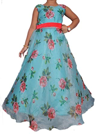 2982a420fa994 NIHA Baby Girls Organza Long Frock Dress Gown (156Blue 13 Years ...