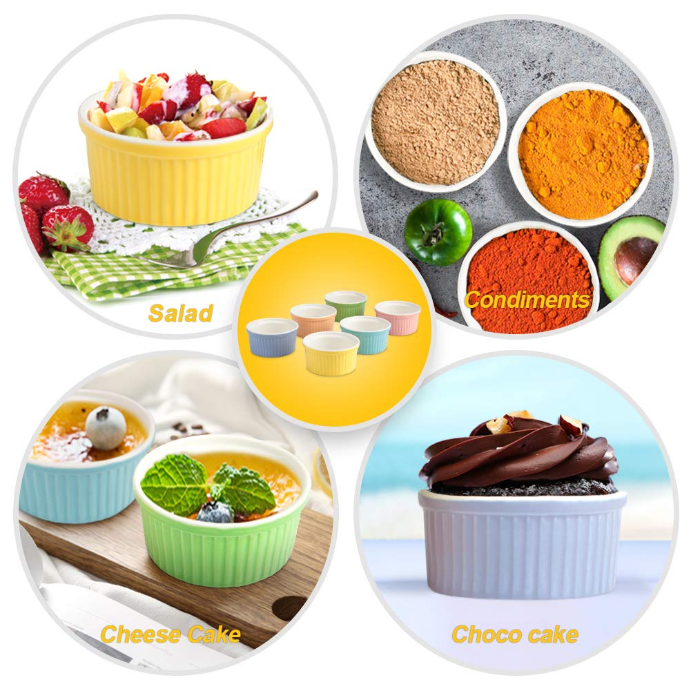 Creme Brulee and Ice Cream 4 Ounce Assorted Colors Secura 4 Oz Ramekin Porcelain Souffle Dishes