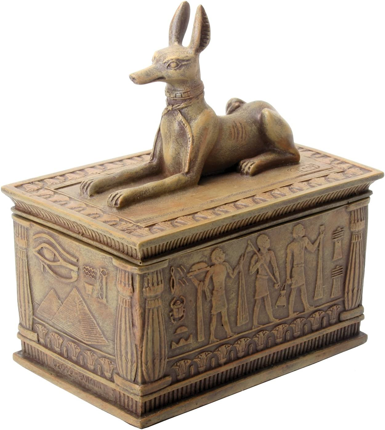SUMMIT BY WHITE MOUNTAIN Sandstone Colored Anubis Box with Egyptian Detail Bottom Designs