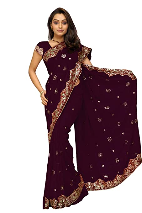 Women's Embroidered Sari for Party & Festival Wear