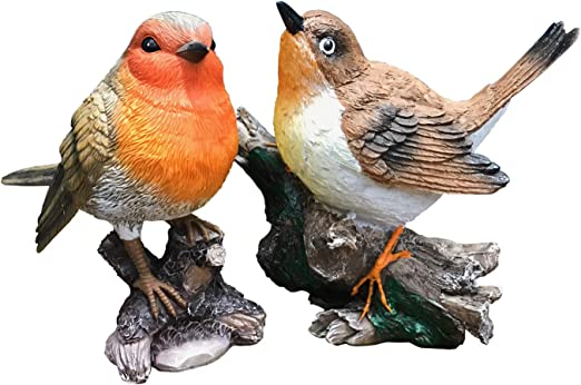 Fountasia Christmas Two Robins on a Holly Branch Wall Art Garden Decoration