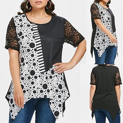 Longra ✓Forme a mujeres el tamaño más corto manga polca del punto de encaje más la camiseta ocasional del tamaño vestidos de fiesta cortos elegantes: ...