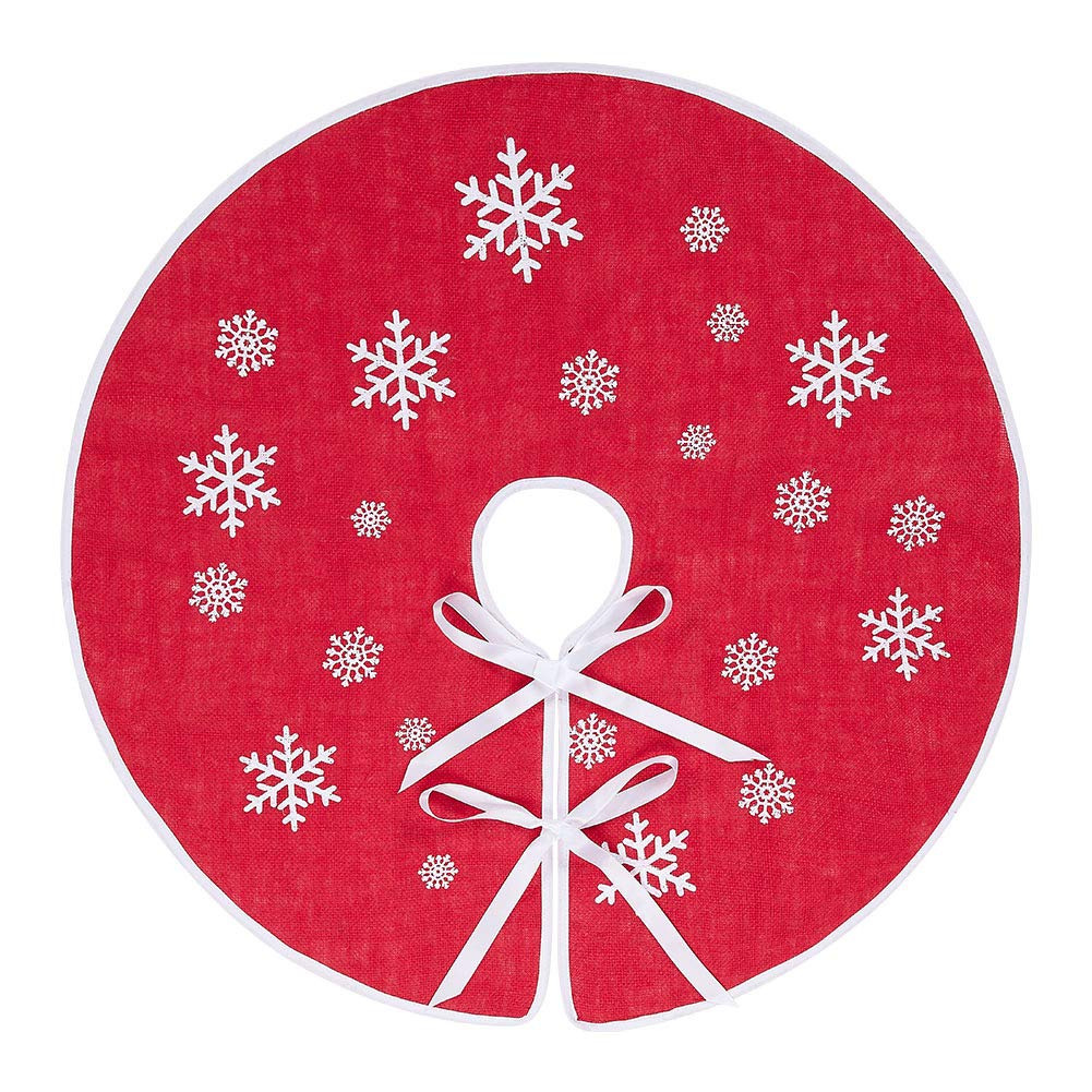 MACTING Countryside Burlap Tree Skirt Christmas 48 Inch White Snowflake Printed Xmas New Year Holiday Decorations Indoor Outdoor
