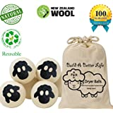 Updated Version(Made of The Latest Shearing)Wool Dryer Balls-Pack of 6 XL,100% Premium Reusable New Zealand Natural Fabric Softener,Saves Drying Time, Handmade Dryer Balls-Cute Sheep/100% Satisfaction