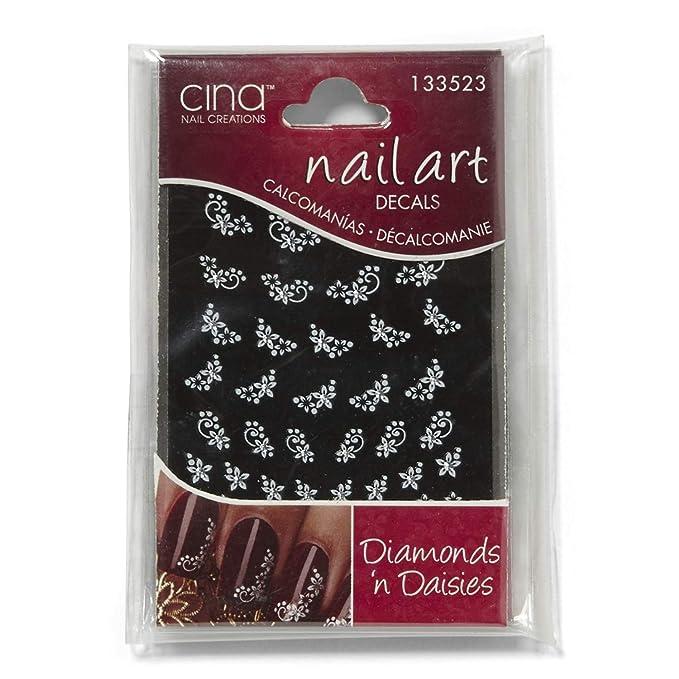 Amazon Com Cina Nail Creations Diamonds And Daisies Rhinestones Nail Art Jewelry Decals Daisies Beauty