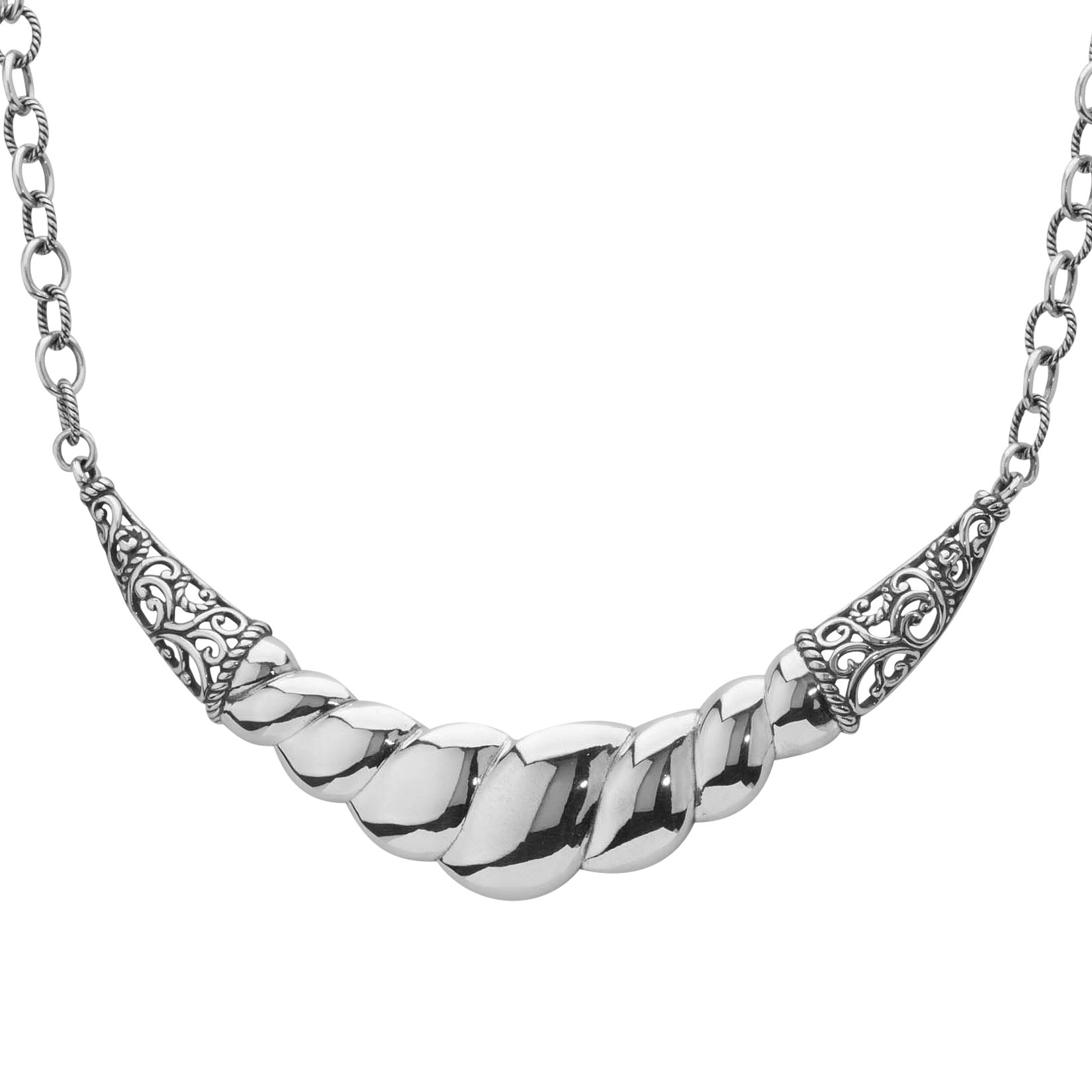 Carolyn Pollack Signature Genuine .925 Sterling Silver Ribbed Scroll Statement Necklace