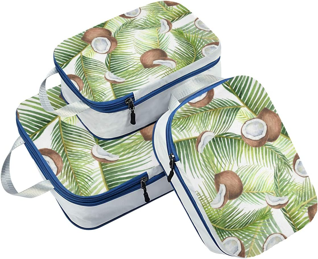 p Green Leaves And Coconuts 3 Set Packing Cubes,2 Various Sizes Travel Luggage Packing Organizers