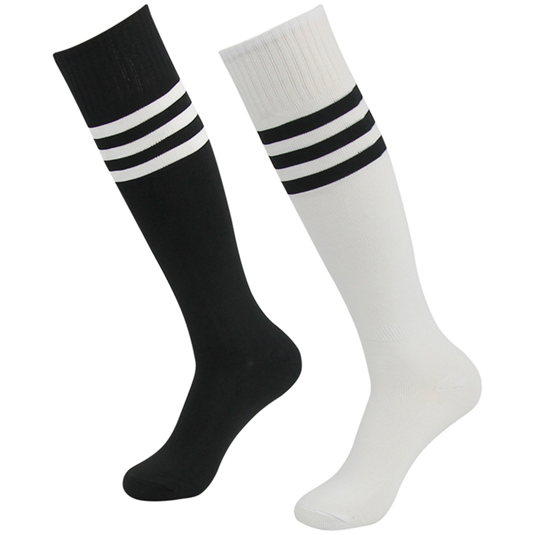 3street Football Soccer Socks, Unisex Ladies Referee Thick Comfort Knee High Tube Stripe Sport Football Compression Socks Black White 2-Pairs by Three street