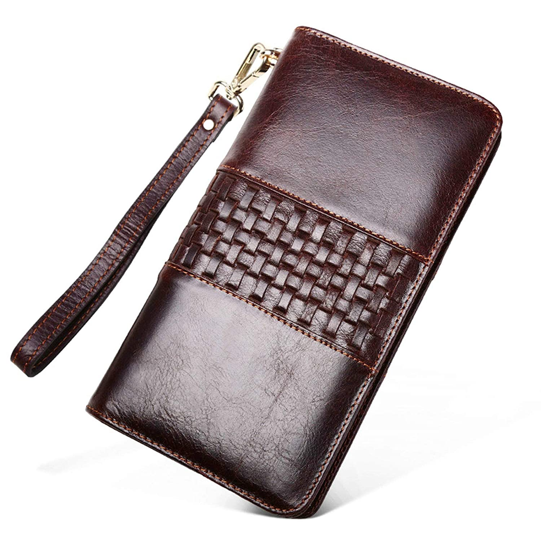 Epinki Fashion Accessories Cowhide Wallet for Men Rectangle Long Zipper Wallet