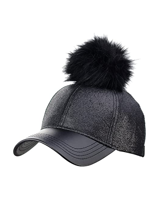 C.C Glitter Style Precurved PU Leather Baseball Cap w Attachable Pom ... 2d85674d2590